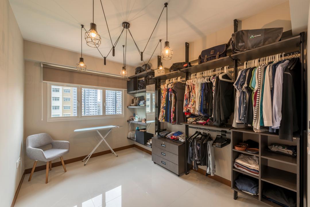 Sumang Walk, Superhome Design, Industrial, HDB, Hanging Lights, White Floor, Roll Down Floor, Wardrobe, Closet, Couch, Furniture, Chair