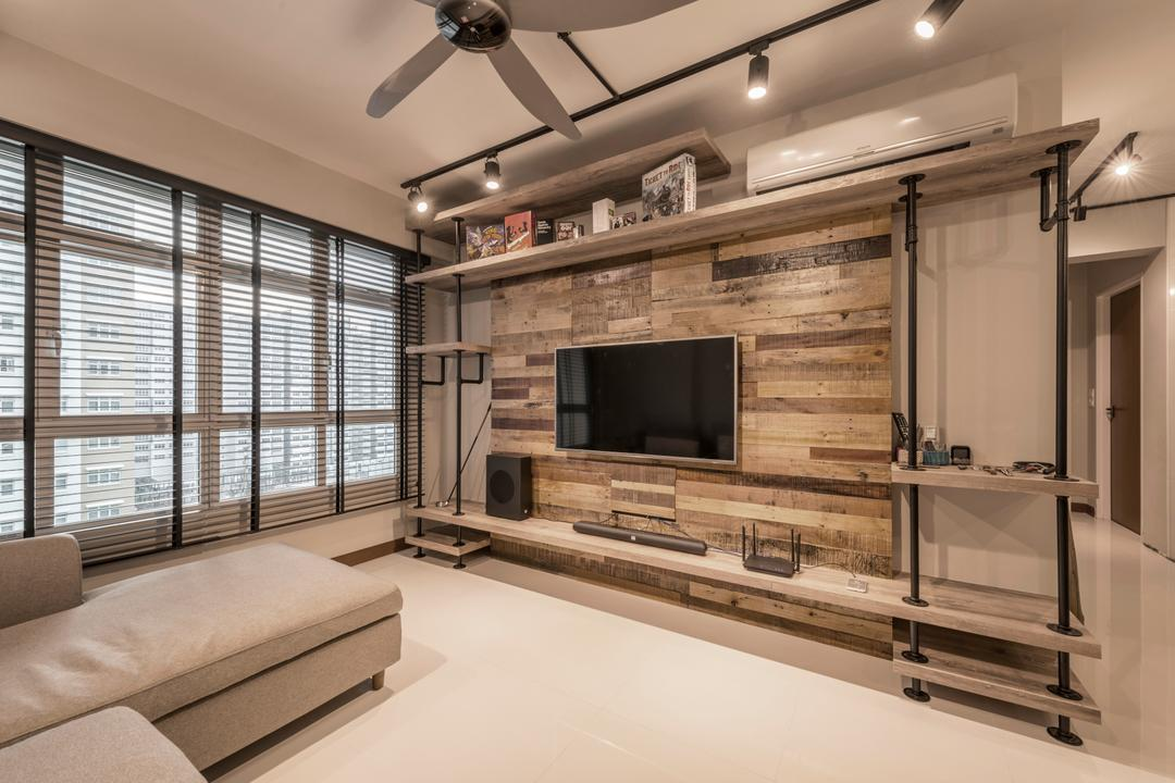 Sumang Walk, Superhome Design, Industrial, Living Room, HDB, Track Lights, Wall Mounted Television, Television Console, Sectional Sofa, Wooden Panel, Wall Mounted Shelves, Modern Contemporary Living Room, Furniture, Table, Indoors, Interior Design, Couch