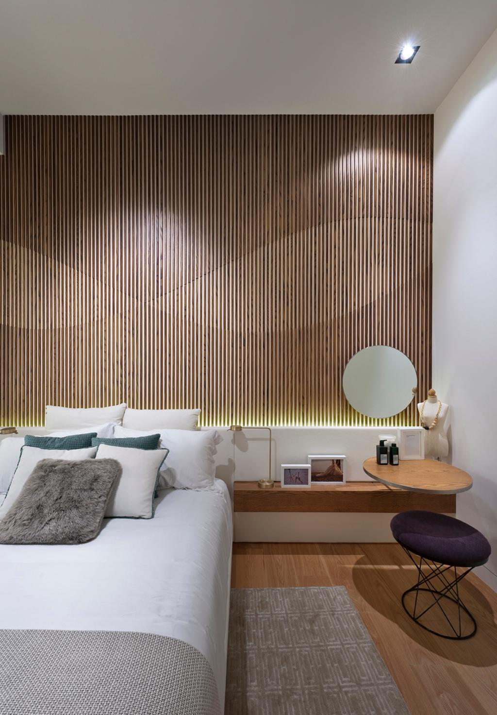 UOL Edge, Commercial, Architect, Ministry of Design, Modern, Bedroom, Wooden Wall, Concealed Lighting, Concealed Lights, Rug, Cushioned Stool, Bedside Table, Wall Mounted Table, Indoors, Interior Design