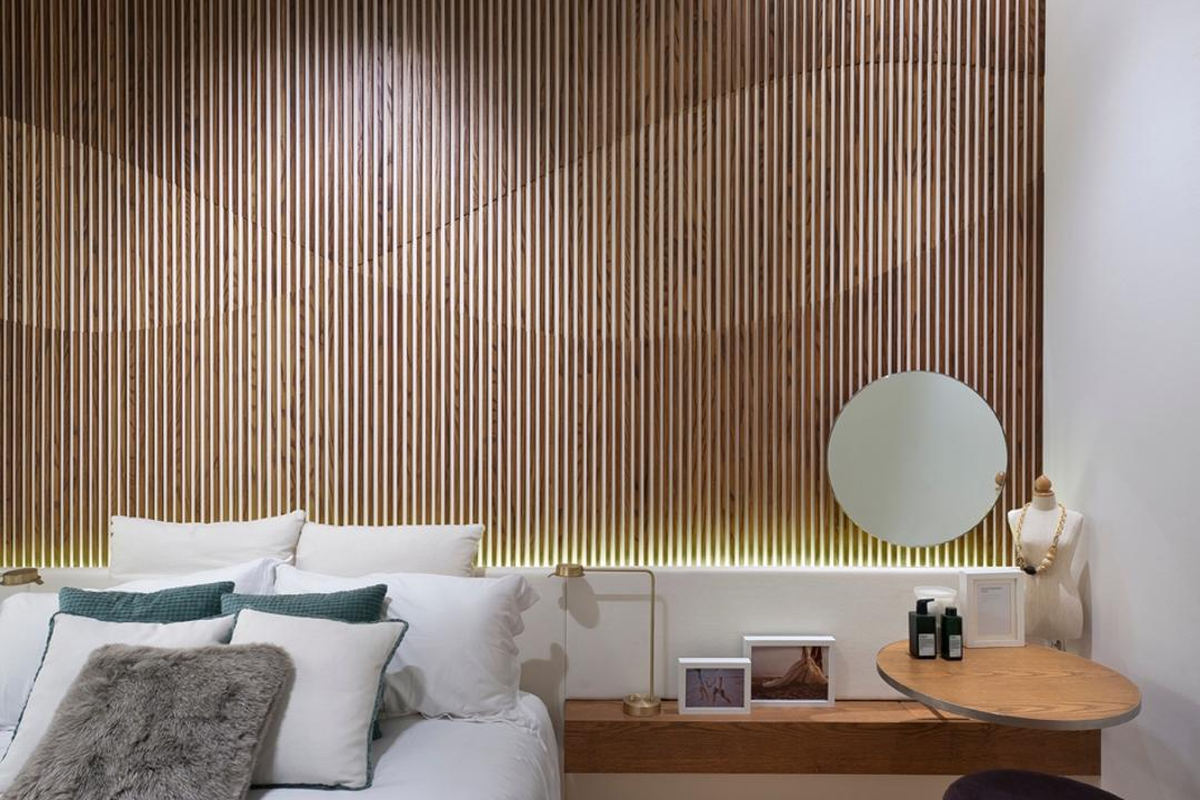 UOL Edge, Ministry of Design, Modern, Bedroom, Commercial, Wooden Wall, Concealed Lighting, Concealed Lights, Rug, Cushioned Stool, Bedside Table, Wall Mounted Table, Indoors, Interior Design