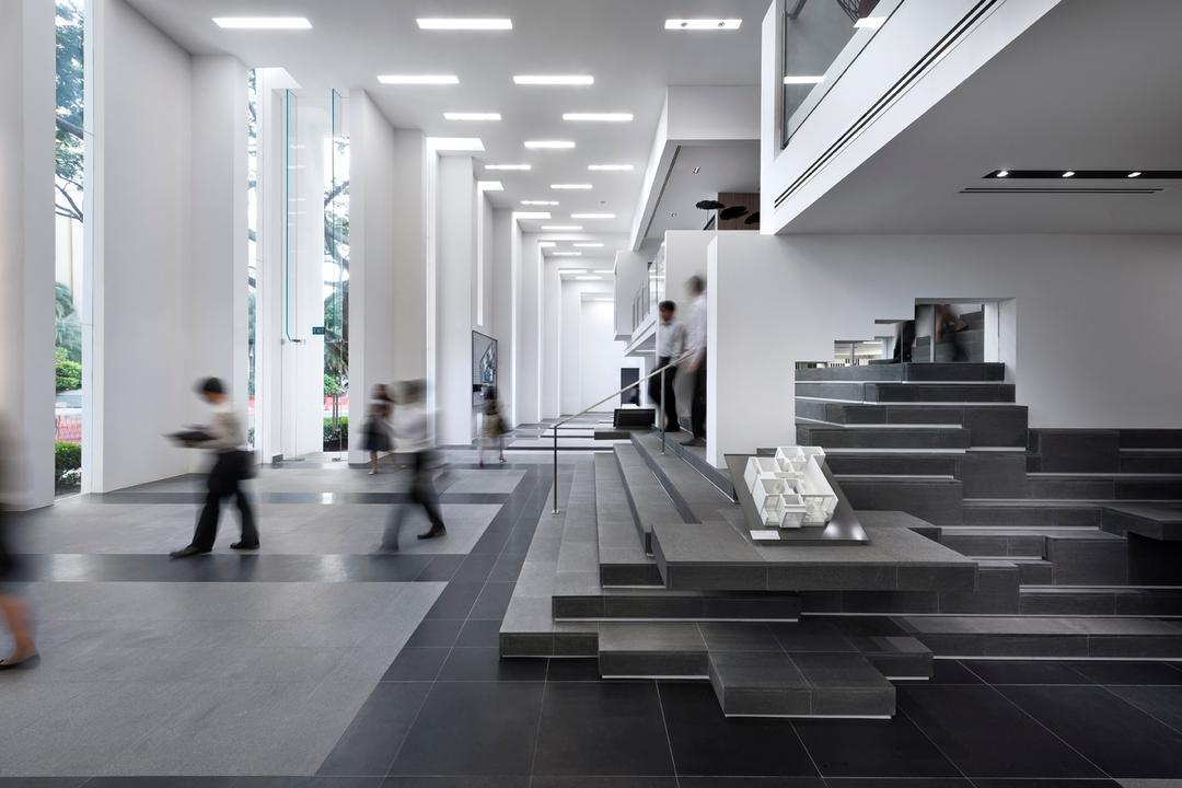 UOL Edge, Ministry of Design, Modern, Commercial, Grey Steps, Gray Steps, Grey Flooring, Gray Flooring, Ceiling Lighting, Recessed Lights, White Walls, White Pillars