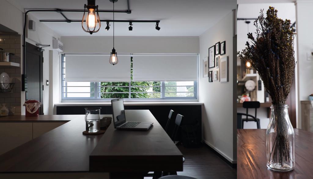 Modern, HDB, Living Room, Yishun Ring Road, Interior Designer, Fifth Avenue Interior, Industrial, Dining Room, Indoors, Interior Design, Room, Lighting, Building, Housing, Loft, Shelf