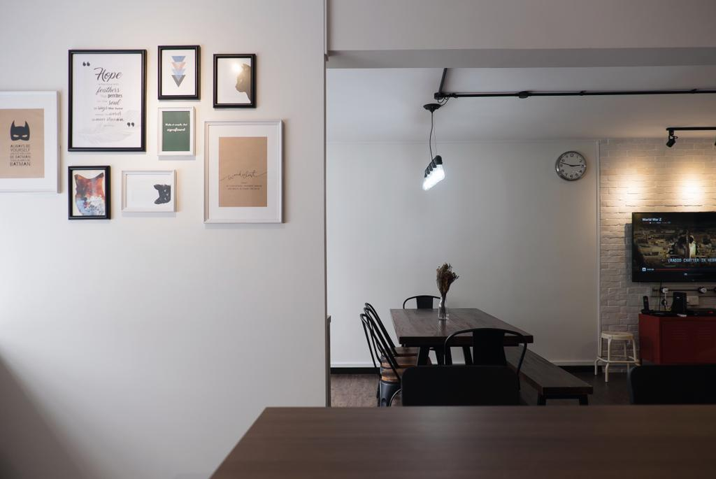 Modern, HDB, Dining Room, Yishun Ring Road, Interior Designer, Fifth Avenue Interior, Industrial, Chair, Furniture, Dining Table, Table, Indoors, Interior Design, Room, Diploma, Document, Text, Couch