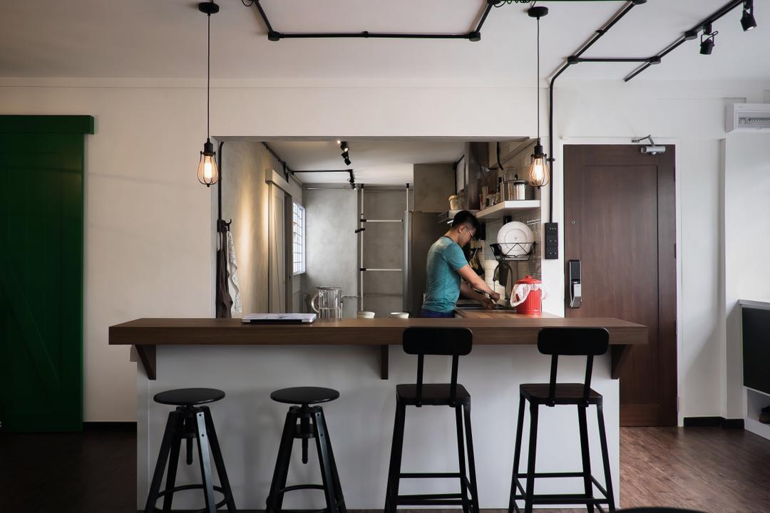 Yishun Ring Road, Fifth Avenue Interior, Modern, Industrial, Dining Room, HDB, Wooden Table, Black Stool, Black Dining Chair, , Hanging Lights, Track Lights, Wooden Floor, Modern Contemporary Dining Room, Bar Stool, Furniture, Tripod, Building, Housing, Indoors, Loft, Chair