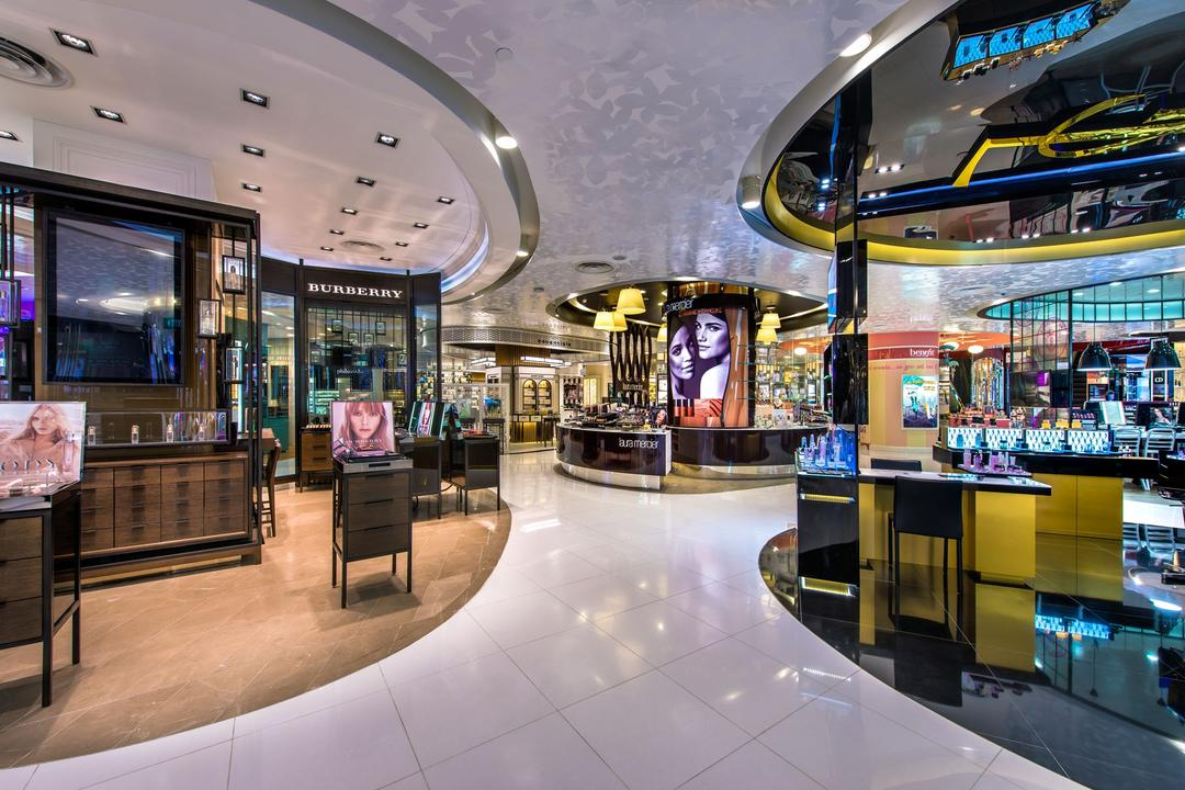 TANGS, Ministry of Design, Modern, Commercial, High Ceiling, Recessed Lighting, Recessed Lights, White Flooring, Display Shelves, Display Counter