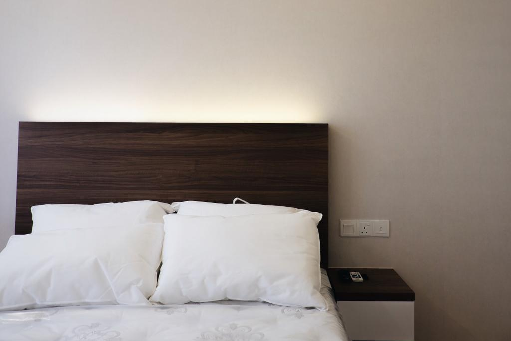 Modern, Condo, Bedroom, Lush Acres, Interior Designer, Fifth Avenue Interior, Scandinavian, King Size Bed, Wooden Bedding Panel, Cozy, Cosy, Hidden Interior Lighting, Bed, Furniture