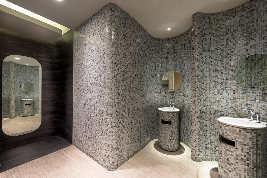 TANGS, Commercial, Architect, Ministry of Design, Modern, Grey Walls, Gray Walls, Concealed Lighting, Concealed Lights, Mirror, Bathroom, Indoors, Interior Design, Room, Sink