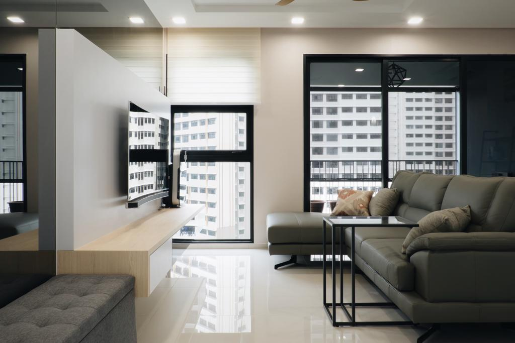 Modern, Condo, Living Room, Lush Acres, Interior Designer, Fifth Avenue Interior, Scandinavian, Modern Contemporary Living Room, Wall Mounted Television, Floating Television Console, Sectional Sofa, Recessed Lights, Glass Panel, Couch, Furniture, HDB, Building, Housing, Indoors, Loft