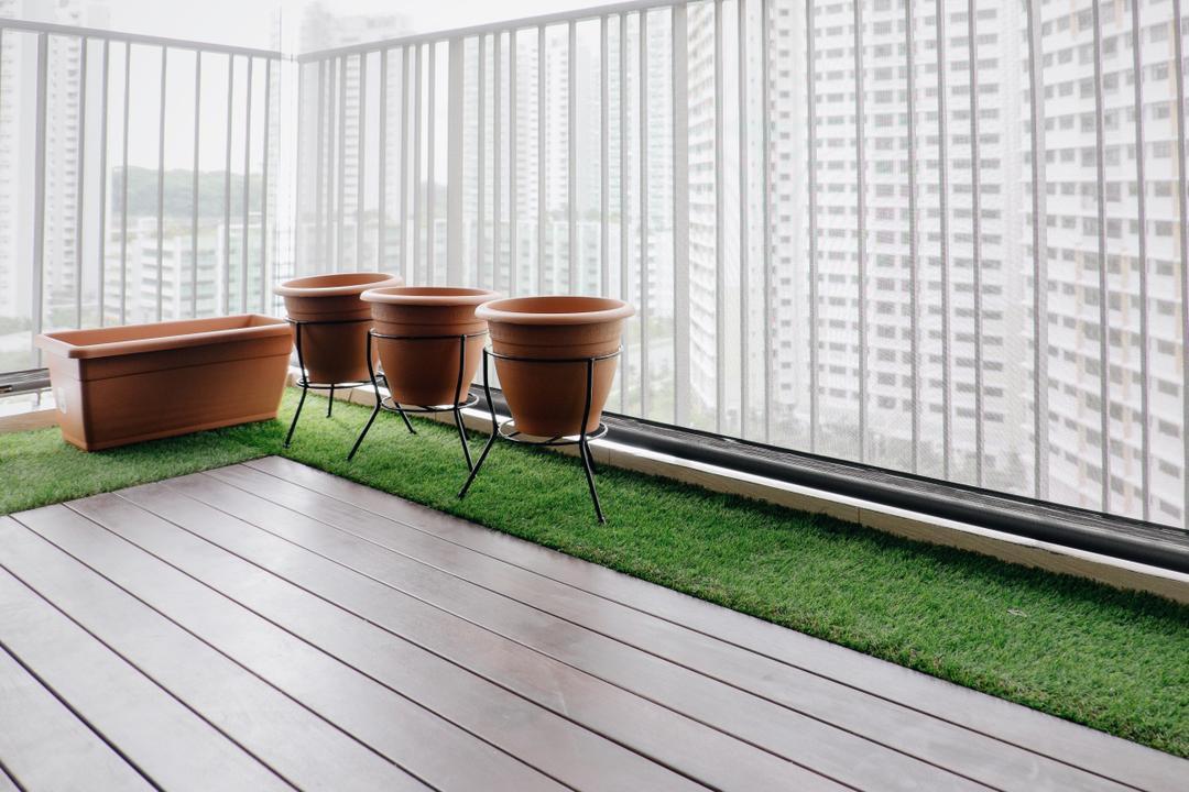Lush Acres, Fifth Avenue Interior, Modern, Scandinavian, Balcony, Condo, Wooden Floor, Artificial Grass, Glass Panel, Tub