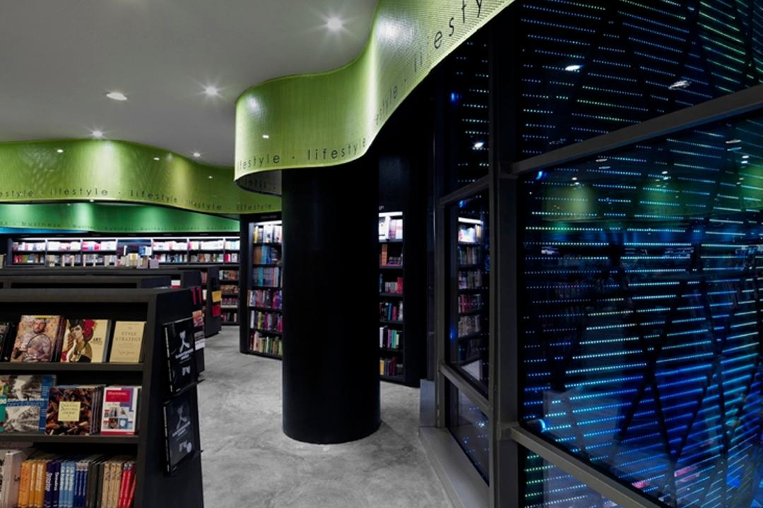 Prologue, Ministry of Design, Modern, Commercial, Recessed Lighting, Recessed Lights, Black Pillar, Glass Windows, False Ceiling, Bookshelves, Black Bookshelves, Book, Kiosk