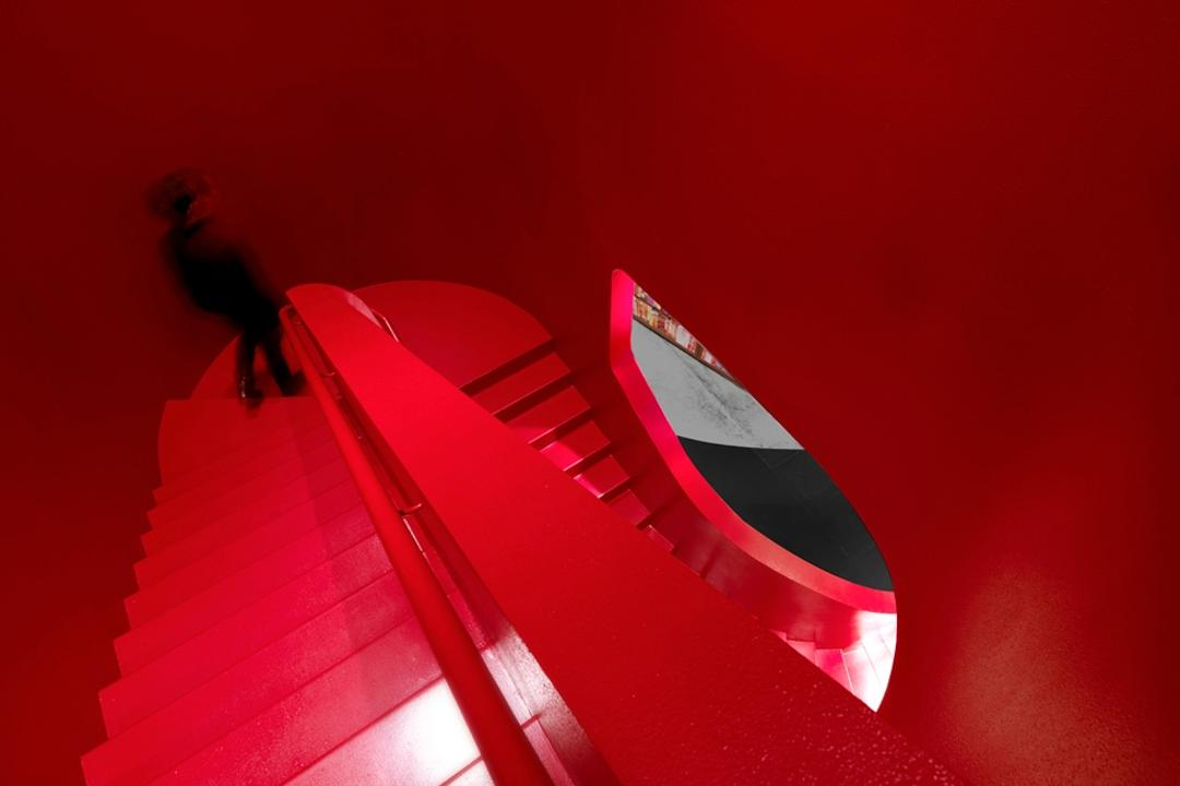 Prologue, Ministry of Design, Modern, Commercial, Stairway, Red Stairway, Red Walls, High Walls, Red Railing, Red Steps