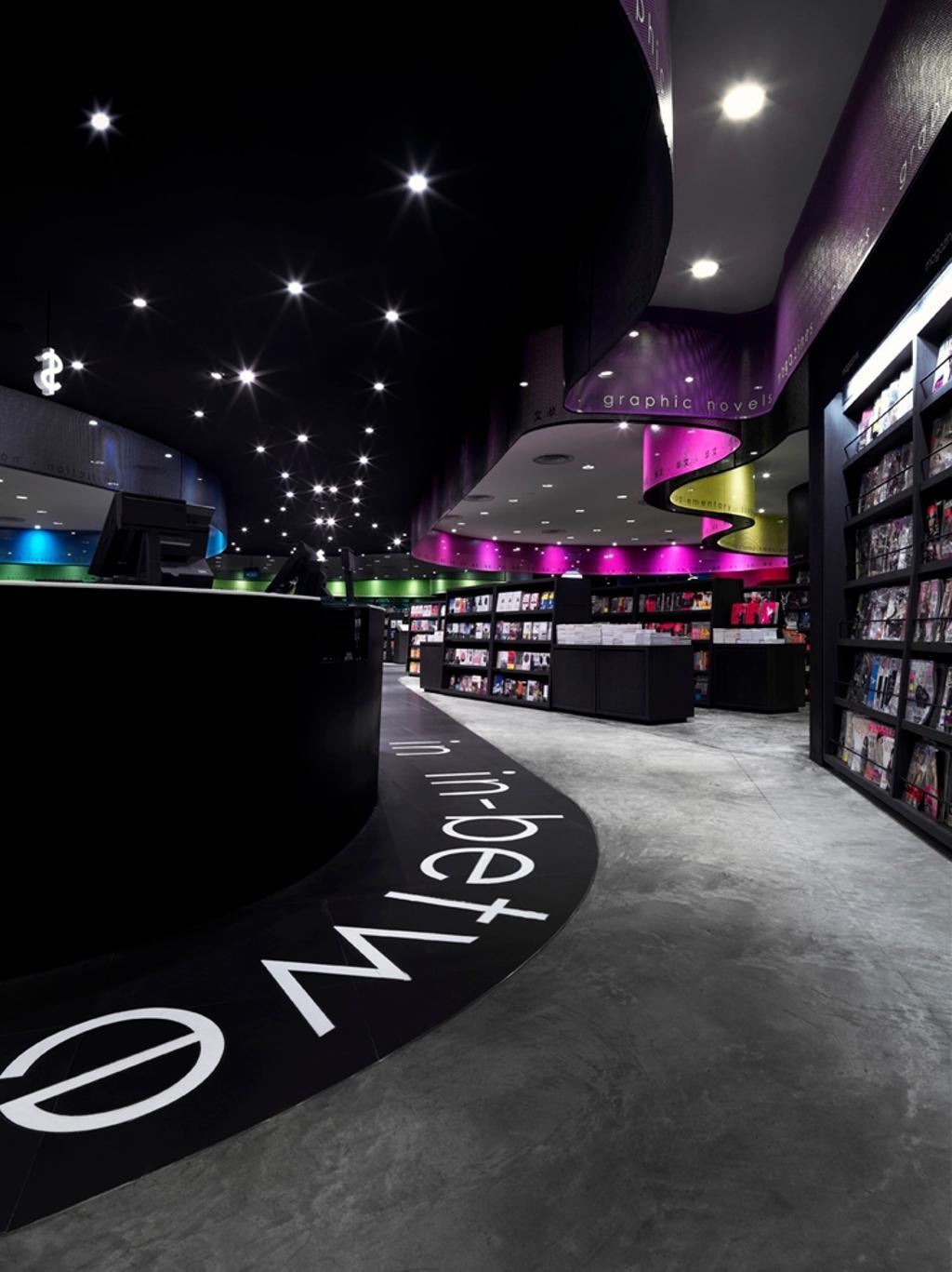 Prologue, Commercial, Architect, Ministry of Design, Modern, Concrete Floor, Black Shelves, Bookshelves, Recessed Lighting, Black Ceiling, False Ceiling, Shop