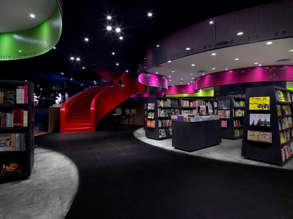 Prologue, Commercial, Architect, Ministry of Design, Modern, Recessed Lighting, Recessed Lights, Concrete Floor, False Ceiling, Red Stairway, Bookshelves