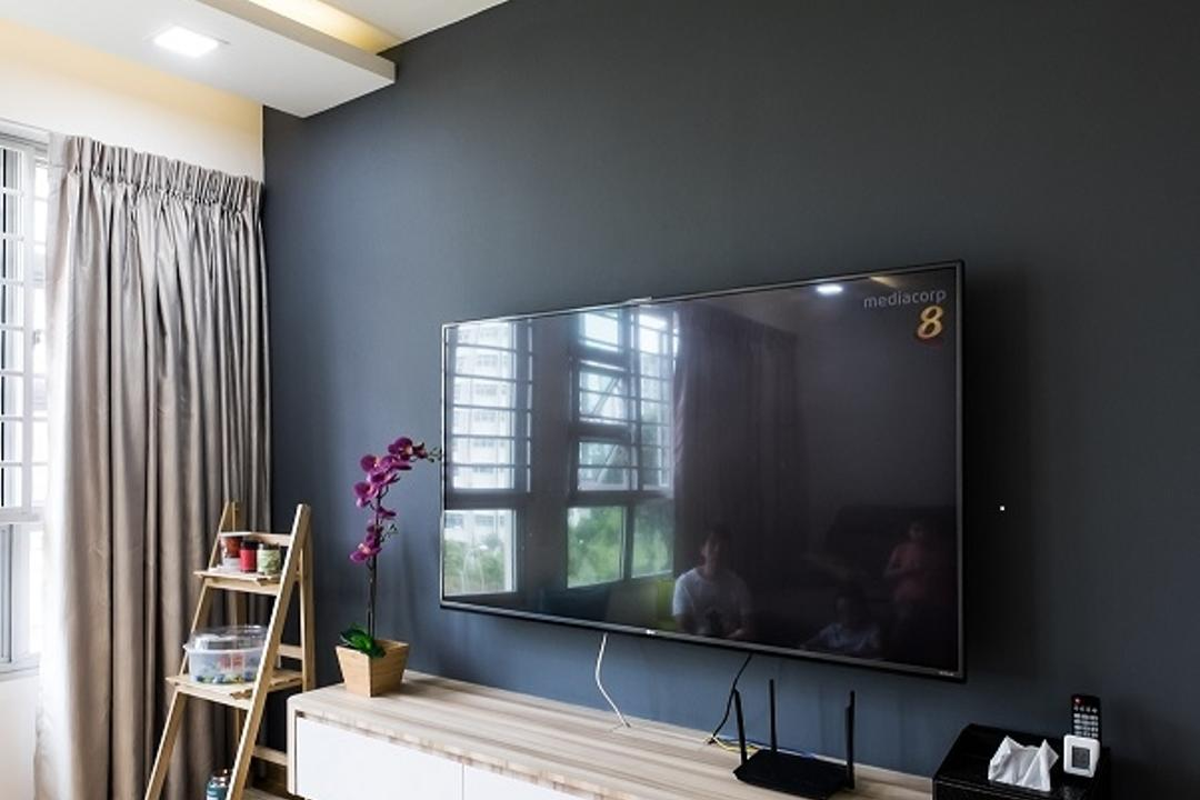 Upper Serangoon Crescent (Block 437A), Nitty Gritty Interior, Minimalistic, Living Room, HDB, Modern Contemporary Living Room, Wooden Floor, Wall Mounted Television, Floating Console, Black Wall, Sling Curtain