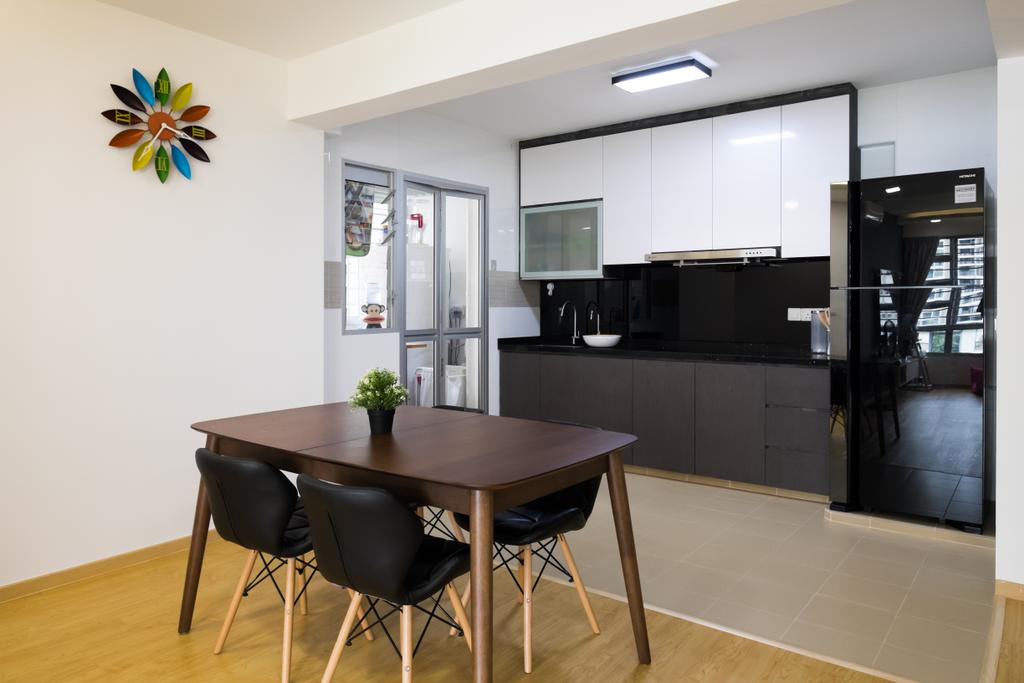 Minimalistic, HDB, Dining Room, Upper Serangoon Crescent (Block 437A), Interior Designer, Nitty Gritty Interior, Wooden Floor, Black Dining Chair, Wooden Dining Table, Ceiling Light, Modern Contemporary Dining Room