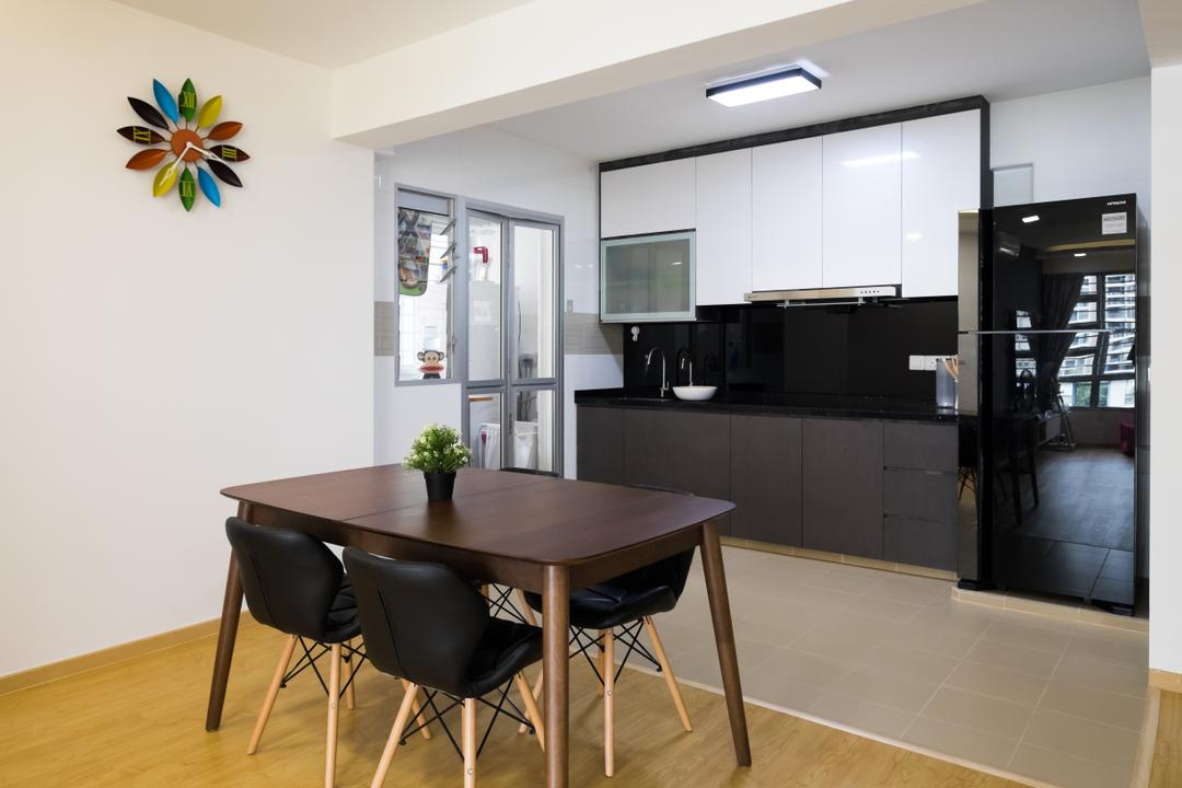 Upper Serangoon Crescent (Block 437A), Nitty Gritty Interior, Minimalistic, Dining Room, HDB, Wooden Floor, Black Dining Chair, Wooden Dining Table, Ceiling Light, Modern Contemporary Dining Room
