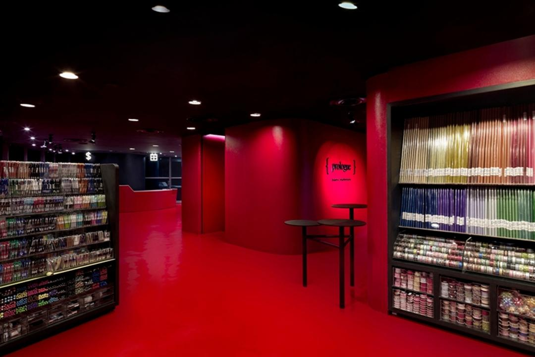 Prologue, Ministry of Design, Modern, Commercial, Recessed Lighting, Recessed Lights, Red Flooring, Red Walls, Bookshelves, Chair, Furniture, Shelf, Shop