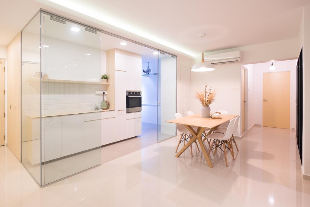 Minimalistic, HDB, Dining Room, Fernvale Road (Block 407B), Interior Designer, Nitty Gritty Interior, Hidden Interior Lighting, Wooden Dining Table, White Dining Chair, Modern Contemporary Dining Room