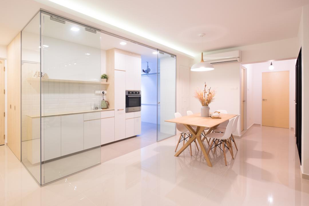 Fernvale Road (Block 407B), Nitty Gritty Interior, Minimalistic, Dining Room, HDB, Hidden Interior Lighting, Wooden Dining Table, White Dining Chair, Modern Contemporary Dining Room