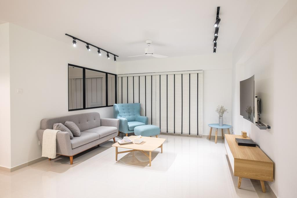 Minimalist, HDB, Living Room, Fernvale Road (Block 407B), Interior Designer, Nitty Gritty Interior, Modern Contemporary Living Room, Track Lights, Wall Mounted Television, Wooden Television Console, Wooden Table, Ceiling Fan, Tifanny Blue Armseat, Grey Sofa