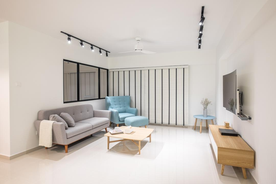 Fernvale Road (Block 407B), Nitty Gritty Interior, Minimalistic, Living Room, HDB, Modern Contemporary Living Room, Track Lights, Wall Mounted Television, Wooden Television Console, Wooden Table, Ceiling Fan, Tifanny Blue Armseat, Grey Sofa