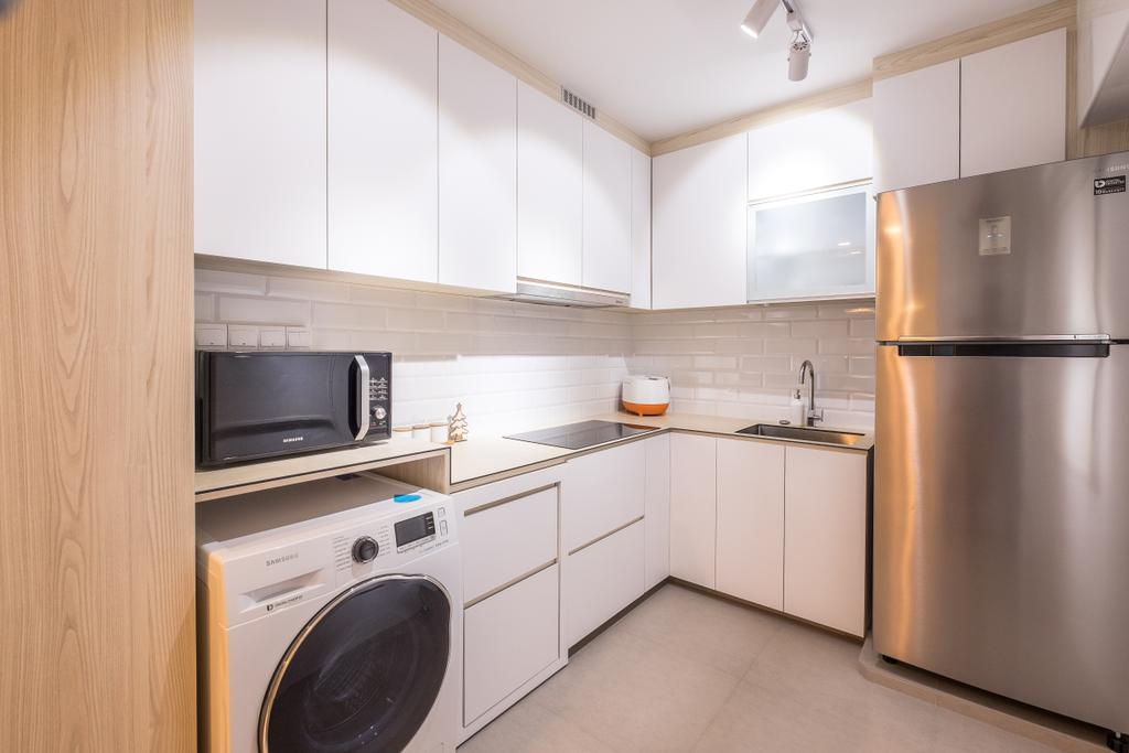 Minimalist, HDB, Kitchen, Fernvale Road (Block 407B), Interior Designer, Nitty Gritty Interior, Ceramic Floor, White Kitchen Cabinet, White Kitchen Cupboard, Modern Contemporary Kitchen, White Laminated Top