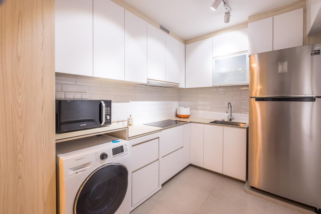 Fernvale Road (Block 407B), Nitty Gritty Interior, Minimalistic, Kitchen, HDB, Ceramic Floor, White Kitchen Cabinet, White Kitchen Cupboard, Modern Contemporary Kitchen, White Laminated Top