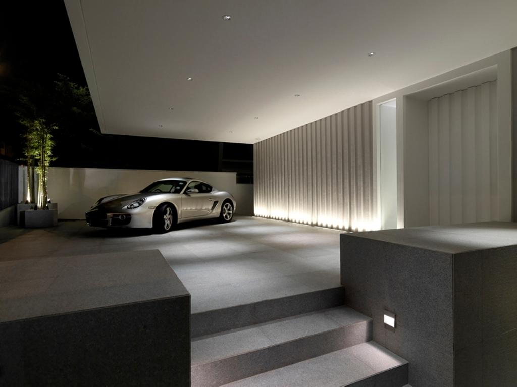 Modern, Landed, Ontario, Architect, Ministry of Design, Carpark Lot, White Ceiling, Exterior Lighting, Potted Plant, Steps, Automobile, Car, Transportation, Vehicle, Coupe, Sports Car