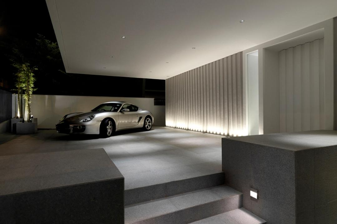 Ontario, Ministry of Design, Modern, Landed, Carpark Lot, White Ceiling, Exterior Lighting, Potted Plant, Steps, Automobile, Car, Transportation, Vehicle, Coupe, Sports Car