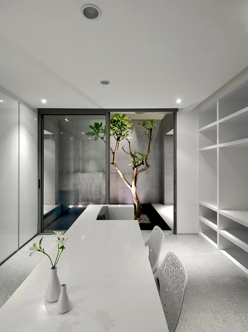 Modern, Landed, Ontario, Architect, Ministry of Design, White Ceiling, Recessed Lighting, Recessed Lights, White Cabinet, Open Cabinet, Glass Doors, Planted Trees, White Table, Potted Plant, Chairs, White Chairs, Bonsai, Flora, Jar, Plant, Pottery, Tree, Vase, Sink, Art, Blossom, Flower, Flower Arrangement, Ikebana, Ornament