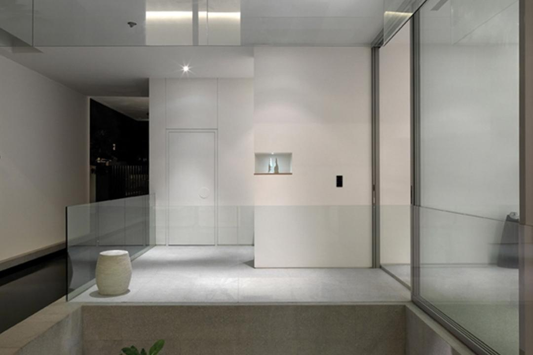 Ontario, Ministry of Design, Modern, Landed, Planted Trees, White Ceiling, White Walls, Glass Doors, Glass Barricade, Bathroom, Indoors, Interior Design, Room