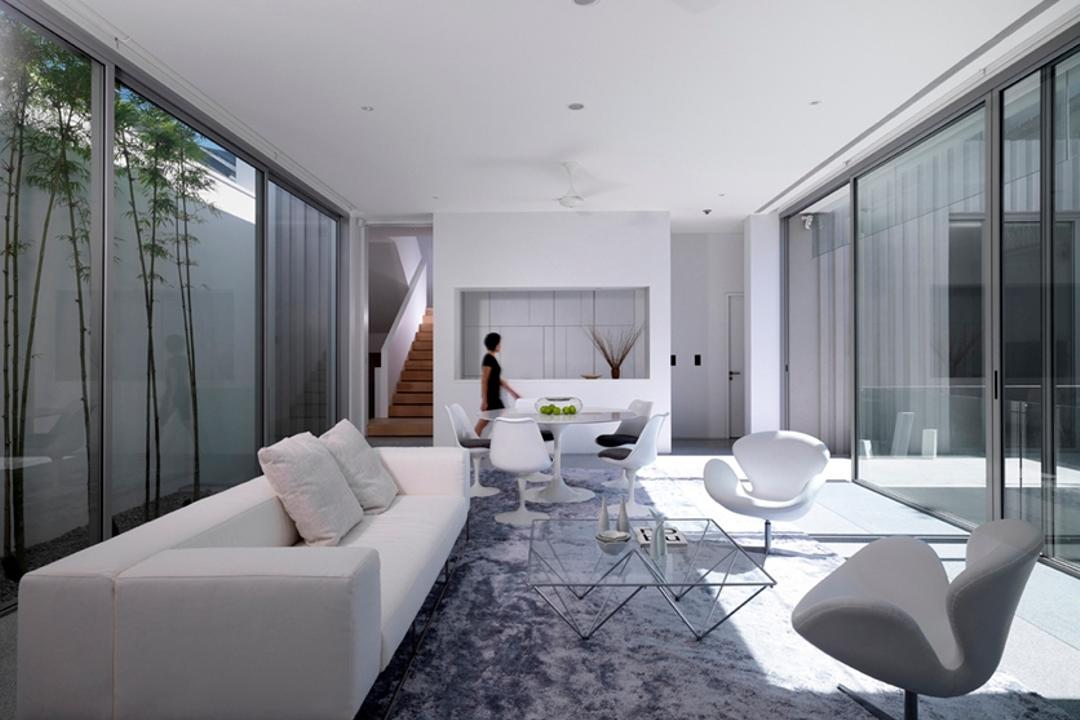 Ontario, Ministry of Design, Modern, Landed, Grey Rug, Gray Rug, White Sofa, Glass Walls, White Walls, White Ceiling, White Chairs, Coffee Table, Chair, Furniture, Indoors, Room