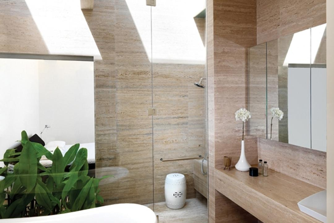 Ontario, Ministry of Design, Modern, Landed, White Ceiling, White Bathtub, Plant, Potted Plant, Brown Flooring, Wooden Flooring, Wooden Wall, Mirror Cabinet, Wall Mounted Cabinet, White Sink, Glass Shower Doors, Flora, Jar, Pottery, Vase, Indoors, Interior Design