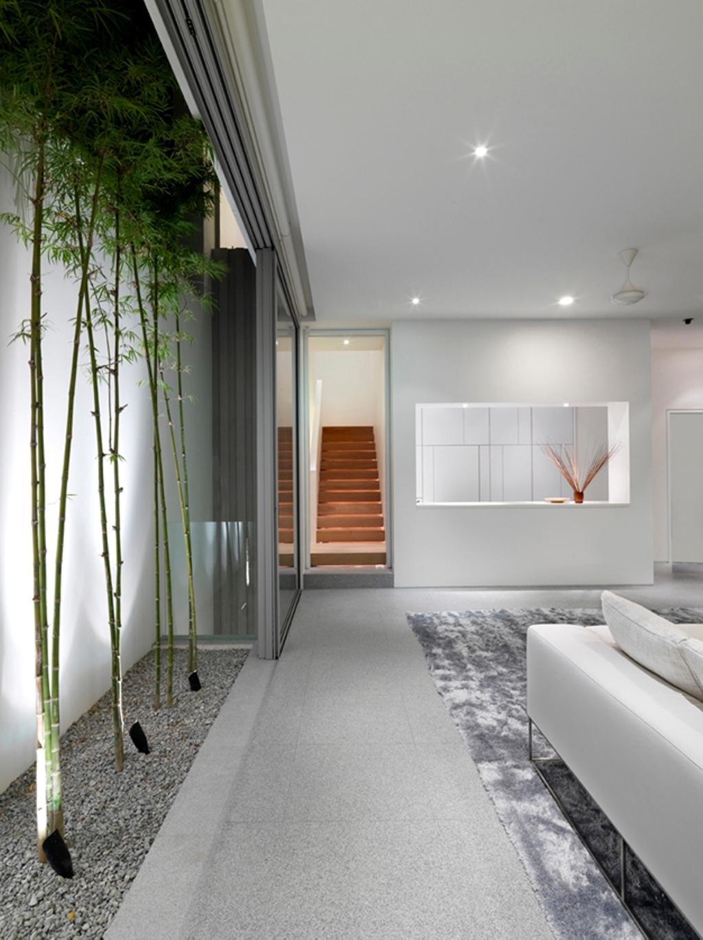 Modern, Landed, Ontario, Architect, Ministry of Design, Recessed Lighting, Recessed Lights, White Ceiling, White Walls, Planted Trees, Pebbles Path, Rug, Grey Rug, Gray Rug, White Sofa, Bamboo, Flora, Plant, Corridor