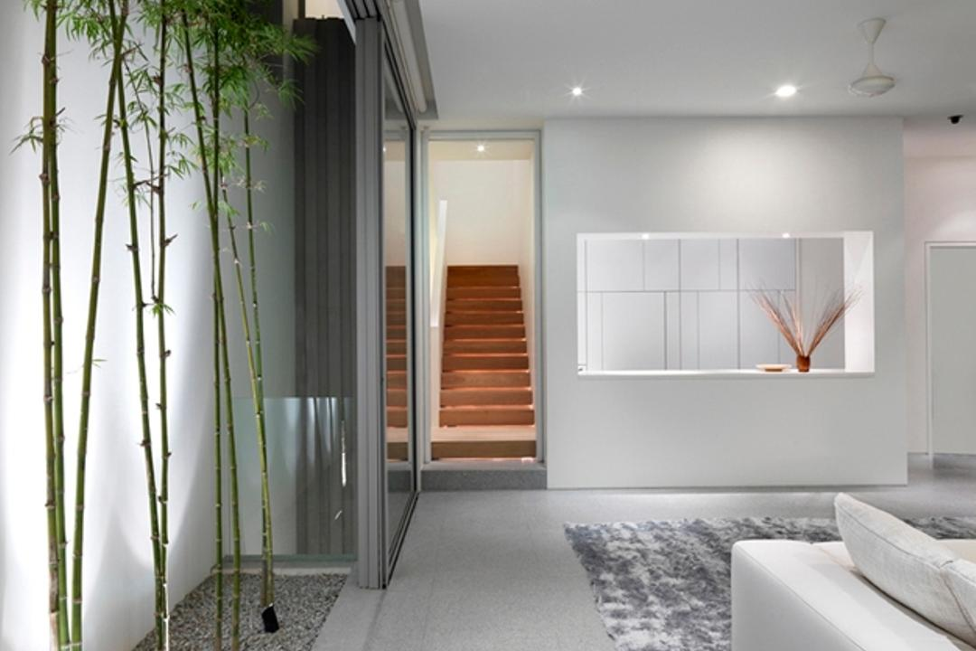 Ontario, Ministry of Design, Modern, Landed, Recessed Lighting, Recessed Lights, White Ceiling, White Walls, Planted Trees, Pebbles Path, Rug, Grey Rug, Gray Rug, White Sofa, Bamboo, Flora, Plant, Corridor