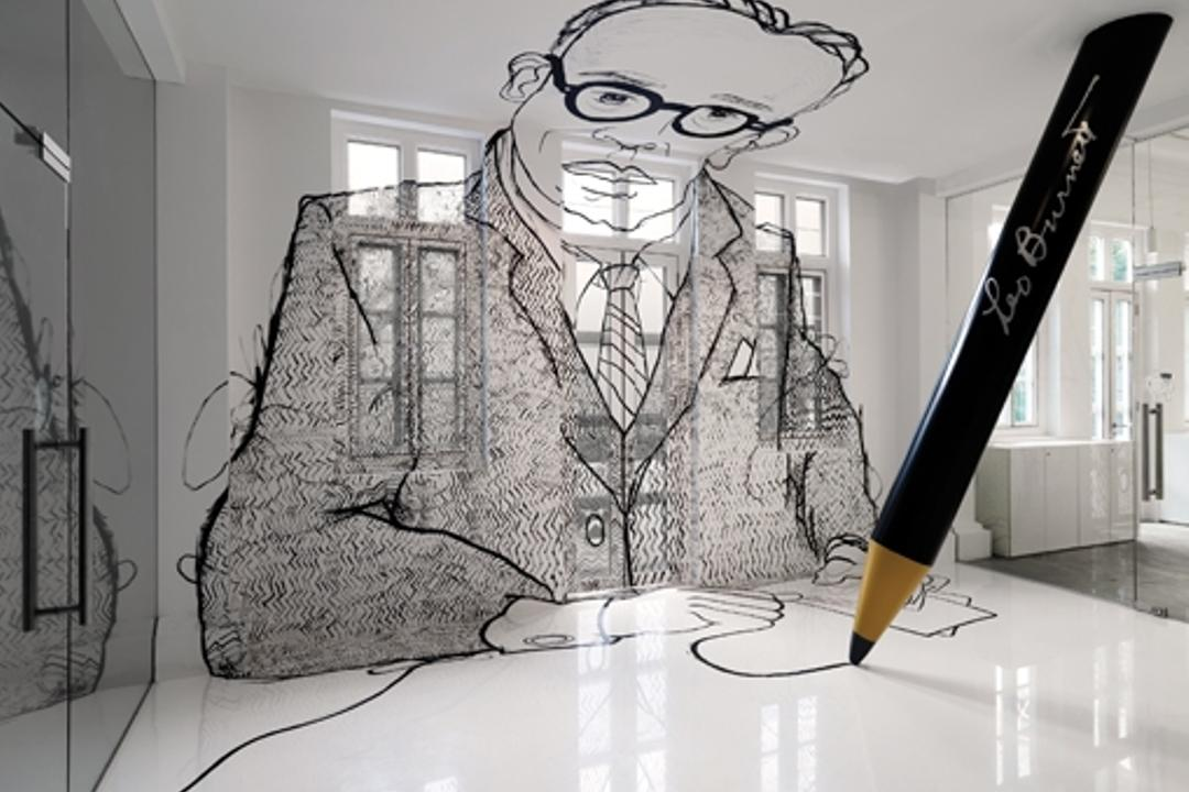 Leo Burnett, Ministry of Design, Eclectic, Commercial, Pillar, Pencil Pillar, White Flooring, White Ceiling, White Windows, Wallart, Glass Doors, Art, Drawing, Sketch