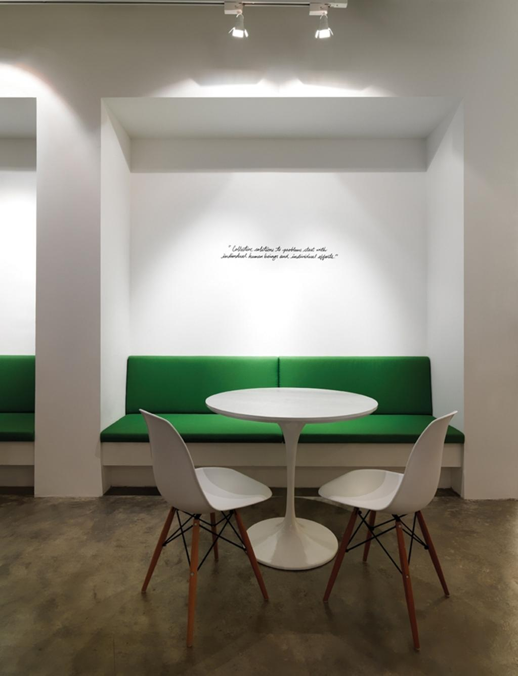 Leo Burnett, Commercial, Architect, Ministry of Design, Eclectic, White Ceiling, White Wall, White Chairs, White Table, Round Table, Green Bench, Bench Seat, Chair, Furniture, Dining Room, Indoors, Interior Design, Room, Dining Table, Table