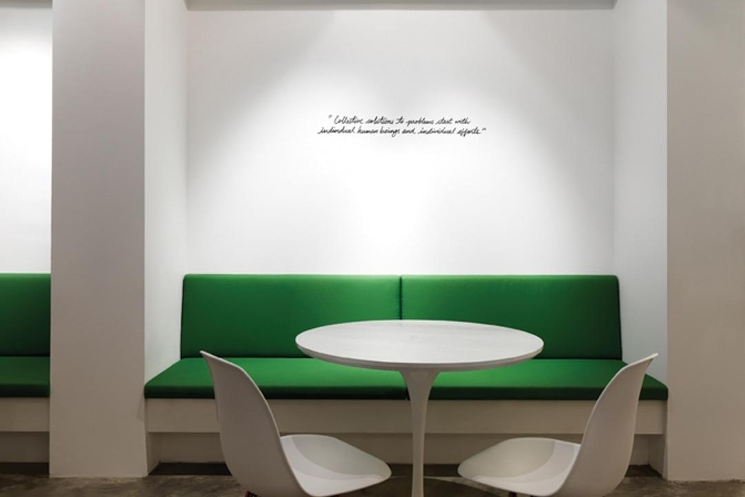 Leo Burnett, Ministry of Design, Eclectic, Commercial, White Ceiling, White Wall, White Chairs, White Table, Round Table, Green Bench, Bench Seat, Chair, Furniture, Dining Room, Indoors, Interior Design, Room, Dining Table, Table