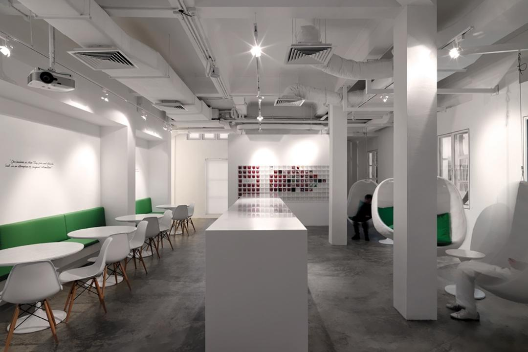 Leo Burnett, Ministry of Design, Eclectic, Commercial, White Pillar, White Counter, Concrete Floor, White Ceiling, Green Cushioned Seats, White Tables, White Chairs, Ceiling Lighting, White Pillars, Chair, Furniture, Lighting, Dining Table, Table