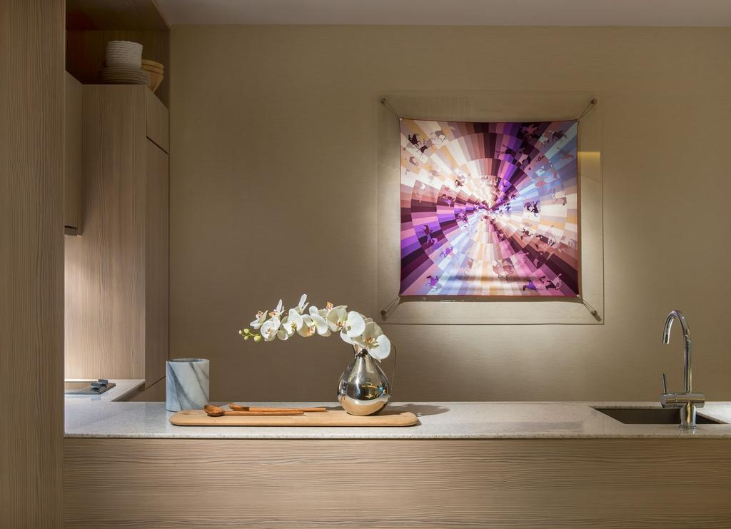 DUO Residences, Commercial, Architect, Ministry of Design, Contemporary, Laminated Table, Laminated Cabinet, Wall Portrait, Sink, Kitchen Sink, Potted Plant