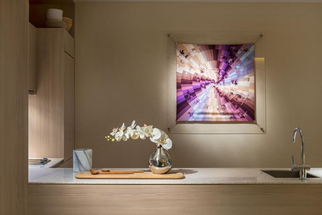 DUO Residences, Ministry of Design, Contemporary, Commercial, Laminated Table, Laminated Cabinet, Wall Portrait, Sink, Kitchen Sink, Potted Plant