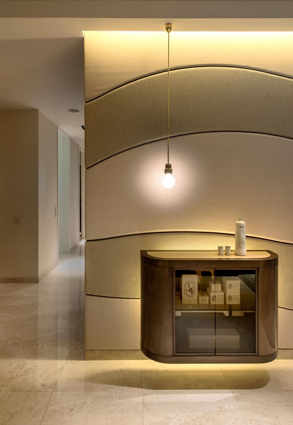 DUO Residences, Commercial, Architect, Ministry of Design, Contemporary, Marble Flooring, Hanging Light, Hanging Light Bulb, Wall Mounted Cabinet, Cabinet, Curvy Wall Designs, Concealed Lighting, Concealed Lights