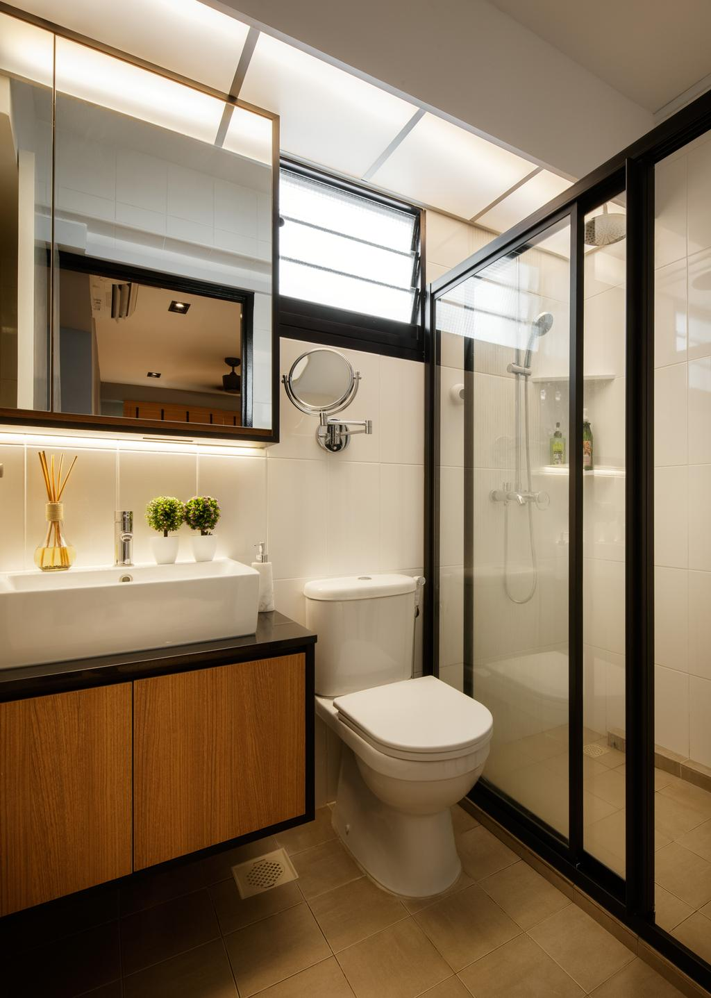 Modern, HDB, Bathroom, Yishun Avenue 4, Interior Designer, Posh Home, Contemporary, Ceramic Floor, Protruding Sink, Wooden Bathroom Cabinet, Wooden Bathroom Cupboard, Hidden Interior Lighting, Modern Contemporary Bathroom, Indoors, Interior Design, Room