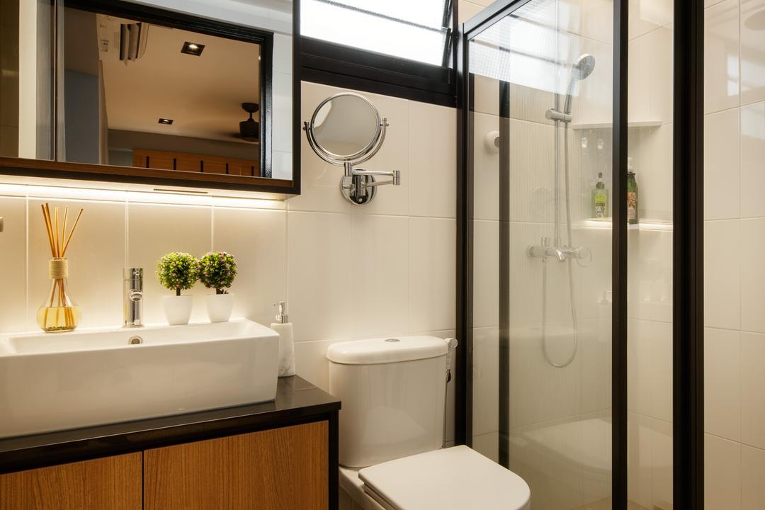 Yishun Avenue 4, Posh Home, Modern, Contemporary, Bathroom, HDB, Ceramic Floor, Protruding Sink, Wooden Bathroom Cabinet, Wooden Bathroom Cupboard, Hidden Interior Lighting, Modern Contemporary Bathroom, Indoors, Interior Design, Room