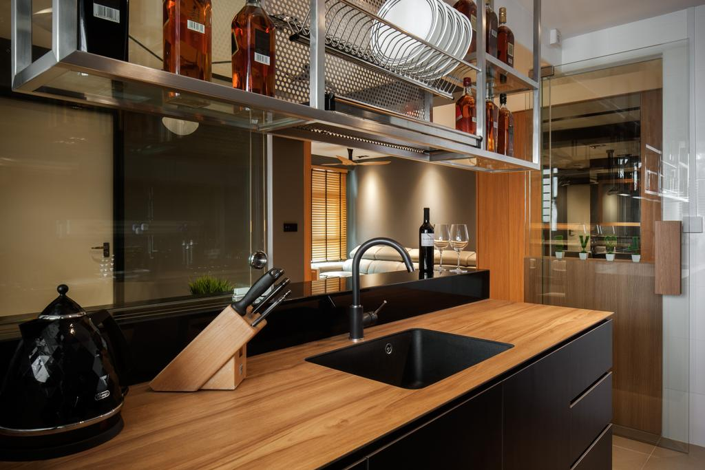 Modern, HDB, Kitchen, Yishun Avenue 4, Interior Designer, Posh Home, Contemporary, Black Kitchen Cupboard, Black Kitchen Cabinet, Wooden Laminated Top, Modern Contemporary Kitchen, Wall Mounted Metal Shelves, Building, Housing, Indoors, Loft, Sink
