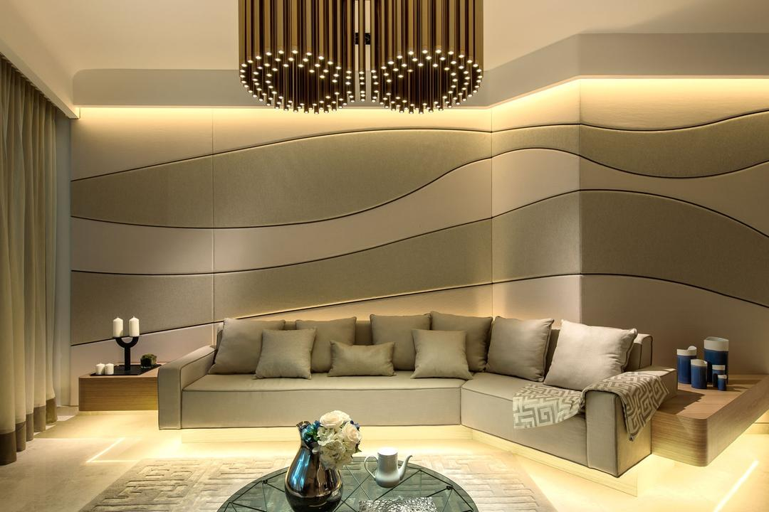 DUO Residences, Ministry of Design, Contemporary, Commercial, Concealed Lighting, Concealed Lights, Pendant Lighting, Pendant Lights, Rug, Small Coffee Table, Round Coffee Table, Curvy Design Walls, Curtains, Sofa, Couch, Furniture, Indoors, Interior Design