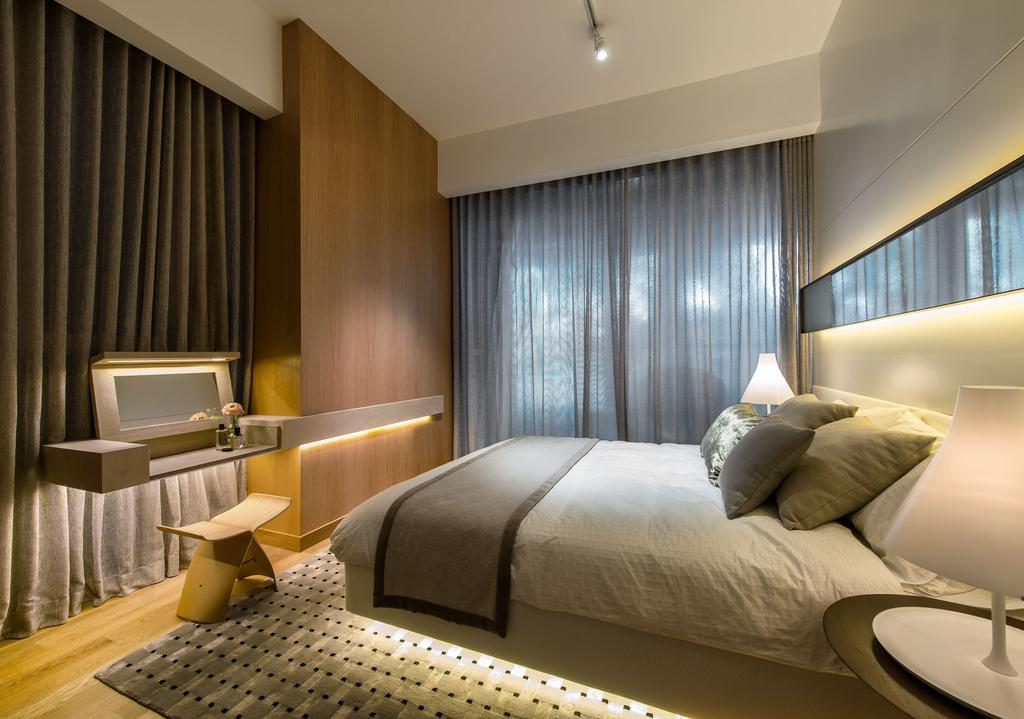 DUO Residences, Commercial, Architect, Ministry of Design, Contemporary, Bedroom, Track Lighting, Curtains, Mirror, Concealed Lighting, Wooden Flooring, Laminated Flooring, Wooden Wall, Wall Mounted Table, Rug, Bedside Lamp, Chair, Furniture, Bed, Indoors, Room, Bathroom, Interior Design