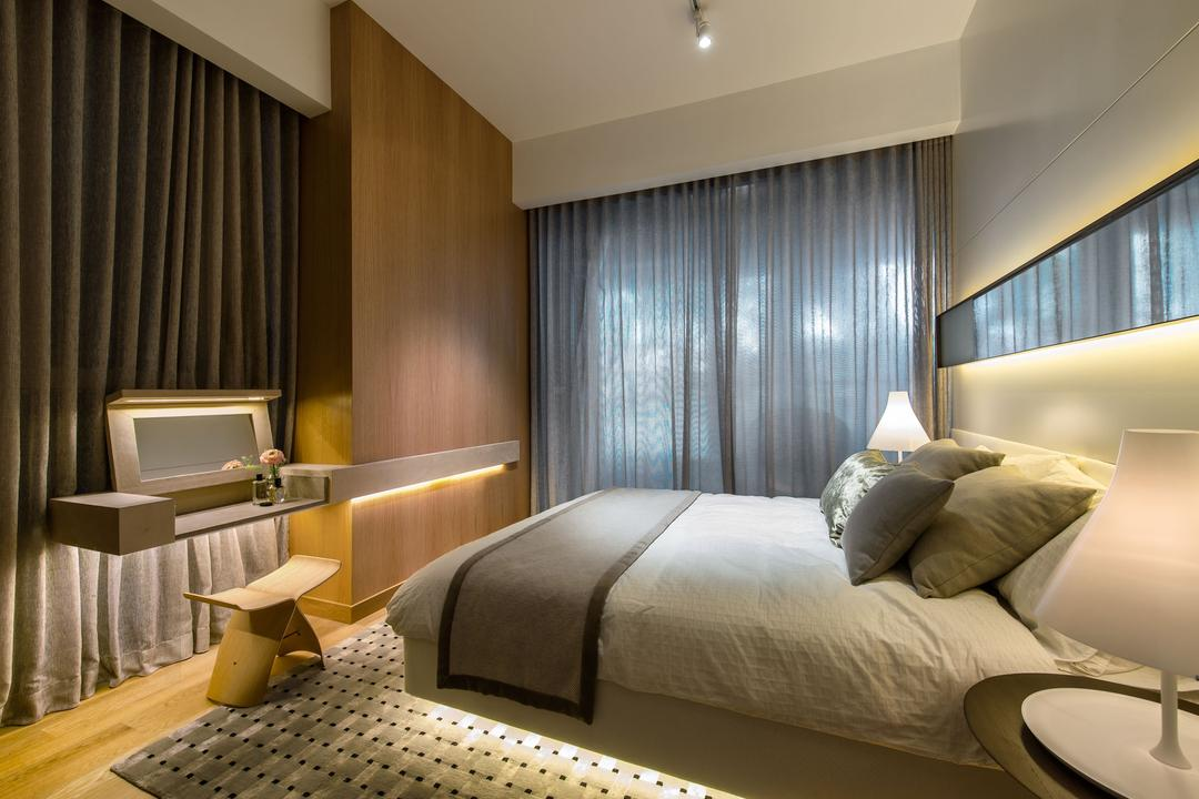 DUO Residences, Ministry of Design, Contemporary, Bedroom, Commercial, Track Lighting, Curtains, Mirror, Concealed Lighting, Wooden Flooring, Laminated Flooring, Wooden Wall, Wall Mounted Table, Rug, Bedside Lamp, Chair, Furniture, Bed, Indoors, Room, Bathroom, Interior Design