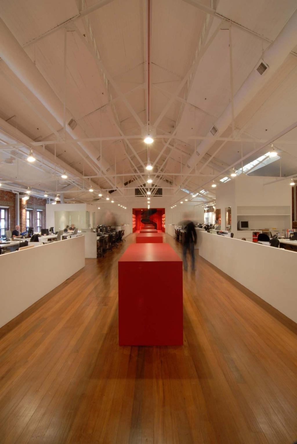 BBH, Commercial, Architect, Ministry of Design, Contemporary, Wooden Flooring, White Ceiling, High Ceiling, Red Partition, White Working Desk, Open Concept Space, Lighting