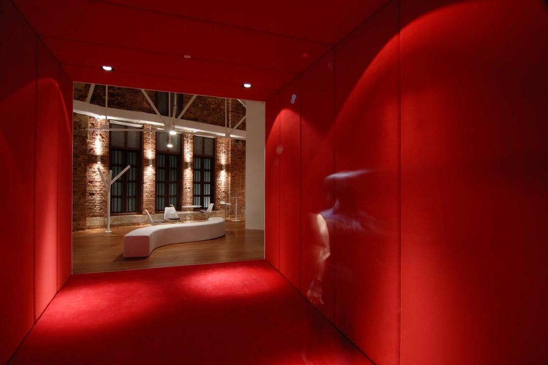 BBH, Ministry of Design, Contemporary, Commercial, Red Walls, Red Ceiling, Red Flooring, Corridor, Carpet, Home Decor